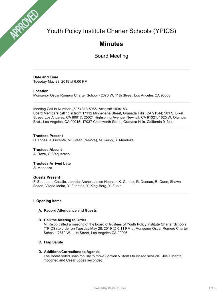 Corporate Minutes Template from boardontrack.com